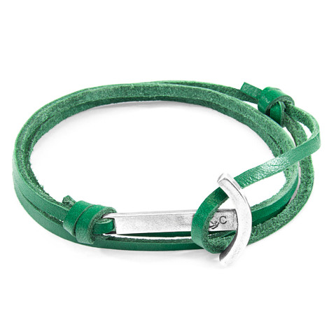 Anchor & Crew Fern Green Clipper Silver and Flat Leather Bracelet
