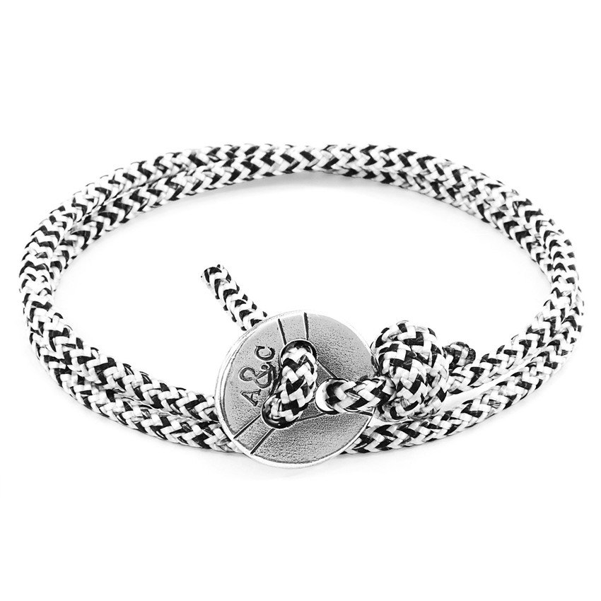 Anchor & Crew White Noir Lerwick Silver and Rope Bracelet