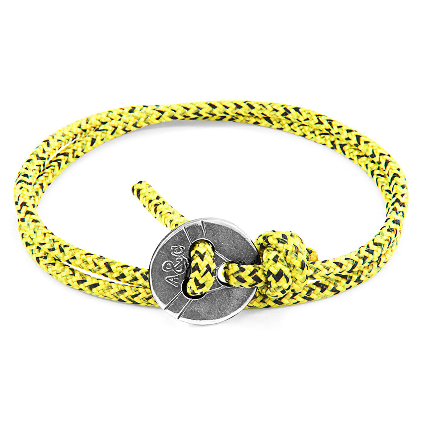 Anchor & Crew Yellow Noir Lerwick Silver and Rope Bracelet