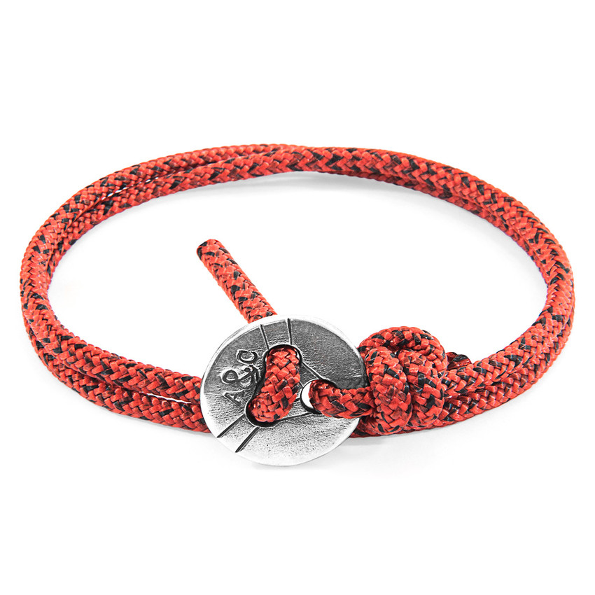 Anchor & Crew Red Noir Lerwick Silver and Rope Bracelet