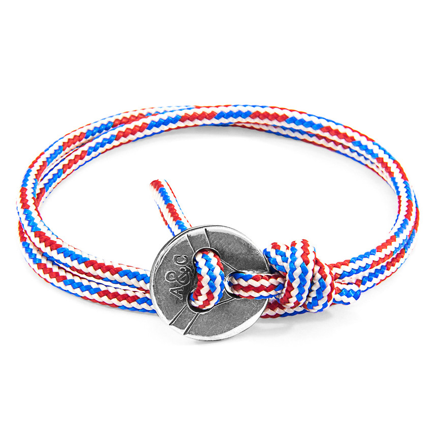 Anchor & Crew Project-RWB Red White and Blue Lerwick Silver and Rope Bracelet