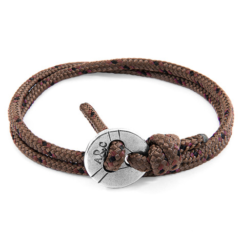 Anchor And Crew Bracelet Lerwick Argent et Corde Marron