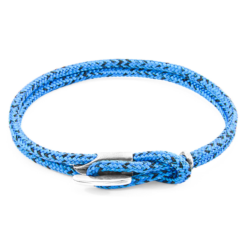 Anchor & Crew Blue Noir Padstow Silver and Rope Bracelet