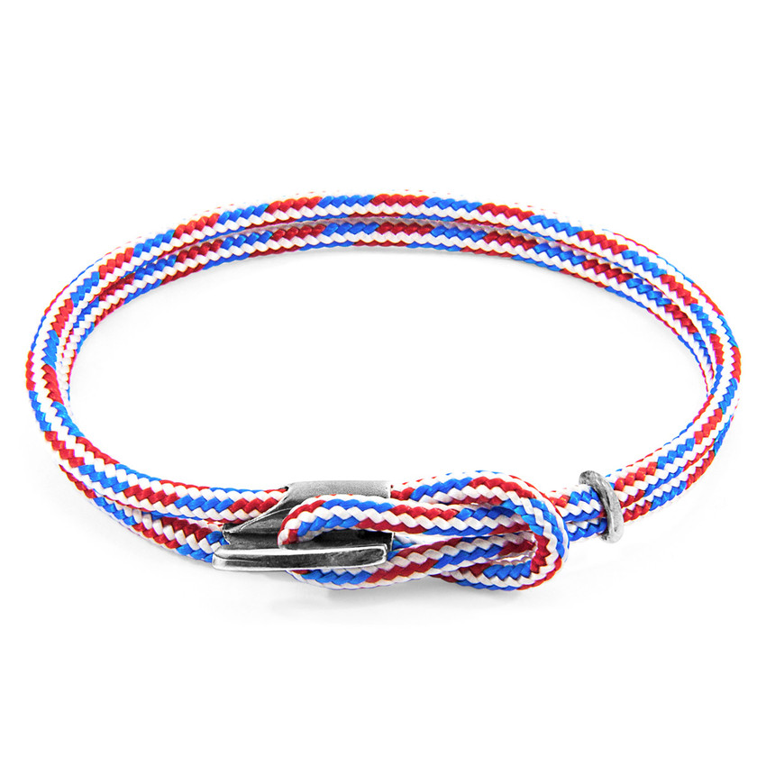 Anchor & Crew Project-RWB Red White and Blue Padstow Silver and Rope Bracelet