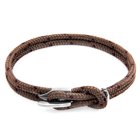 Anchor And Crew Bracelet Padstow Argent et Corde Marron