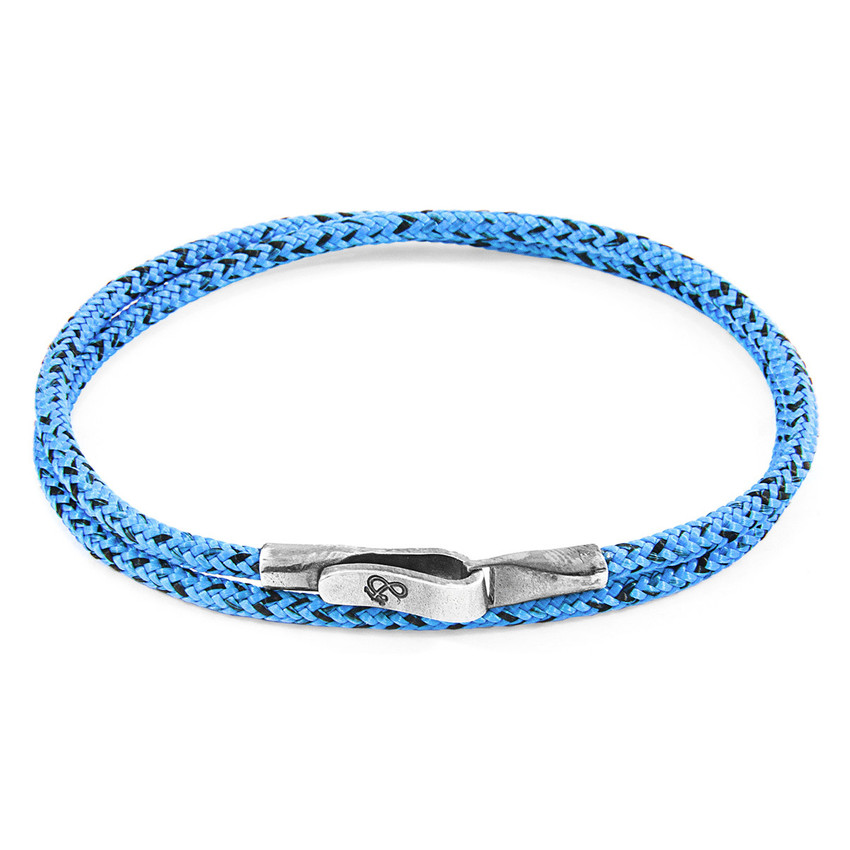 Anchor & Crew Blue Noir Liverpool Silver and Rope Bracelet