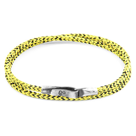 Anchor & Crew Yellow Noir Liverpool Silver and Rope Bracelet