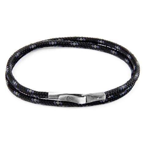 Anchor And Crew Bracciale Liverpool d'Argento e Corda Nera