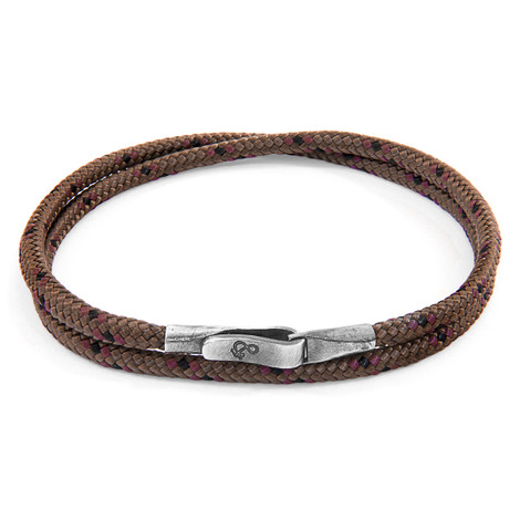 Anchor And Crew Bracelet Liverpool Argent et Corde Marron