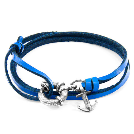 Anchor & Crew Royal Blue Clyde Silver and Flat Leather Bracelet
