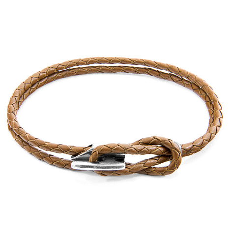 Anchor & Crew Light Brown Padstow Silver and Braided Leather Bracelet