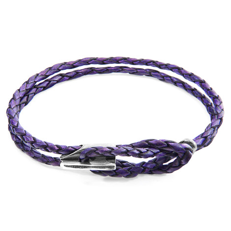 Anchor & Crew Grape Purple Padstow Silver and Braided Leather Bracelet