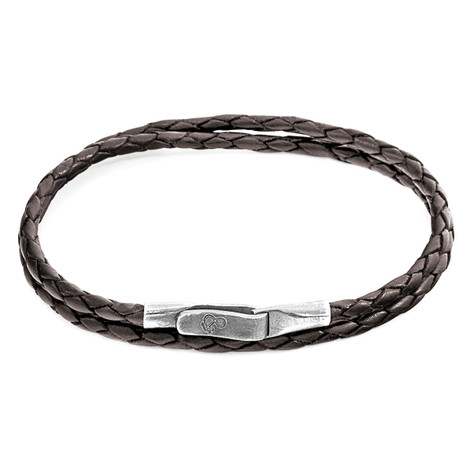 Anchor & Crew Dark Brown Liverpool Silver and Braided Leather Bracelet