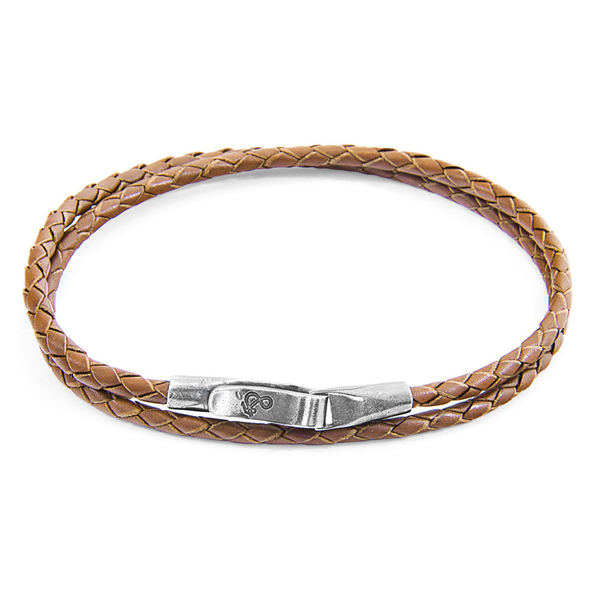 Anchor & Crew Light Brown Liverpool Silver and Braided Leather Bracelet