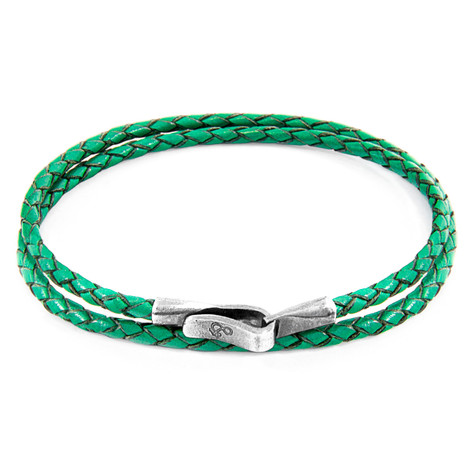 Anchor & Crew Fern Green Liverpool Silver and Braided Leather Bracelet