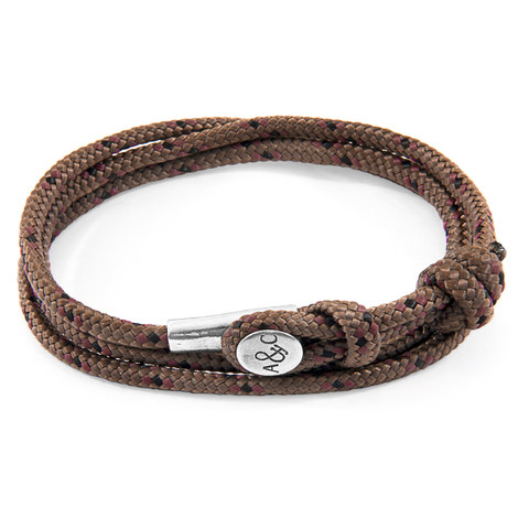 Anchor And Crew Bracelet Dundee Argent et Corde Marron