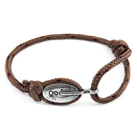 Anchor And Crew Bracelet London Argent et Corde Marron