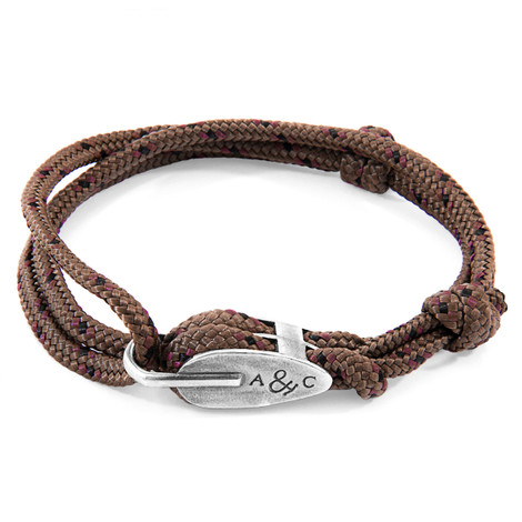 Anchor And Crew Bracelet Tyne Argent et Corde Marron