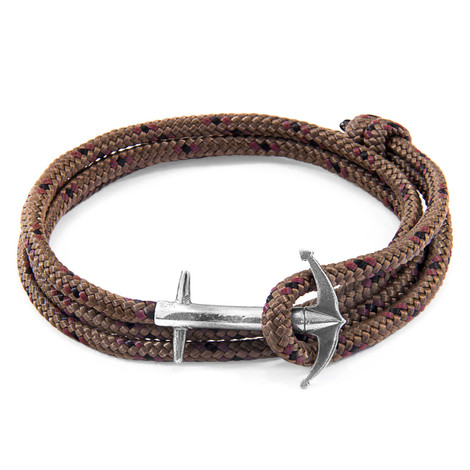 Anchor And Crew Bracelet Ancre Admiral Argenté et Corde Marron