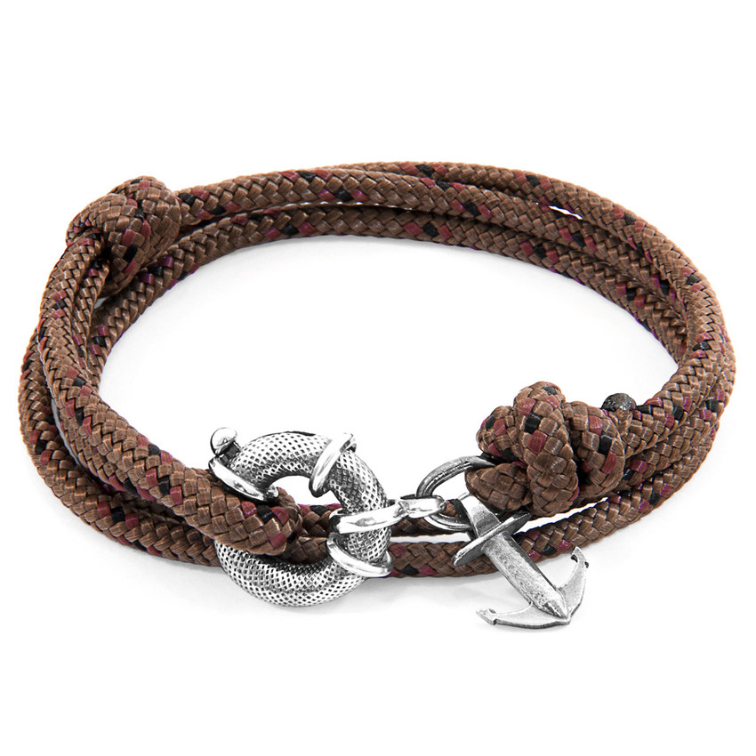 Anchor & Crew Brown Clyde Silver and Rope Bracelet