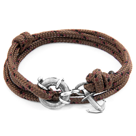Anchor And Crew Bracelet Ancre Clyde Argenté et Corde Marron