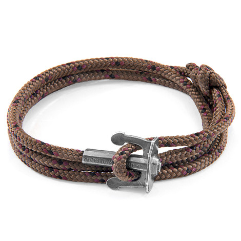 Anchor And Crew Bracelet Ancre Union Argenté et Corde Marron