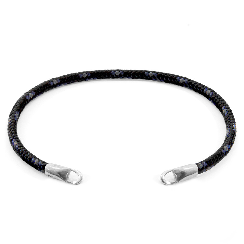 Anchor & Crew Black CUSTOM Bracelet Rope and Silver Line
