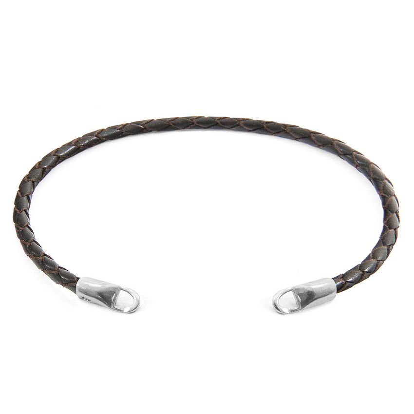 Anchor & Crew Dark Brown CUSTOM Bracelet Leather and Silver Line