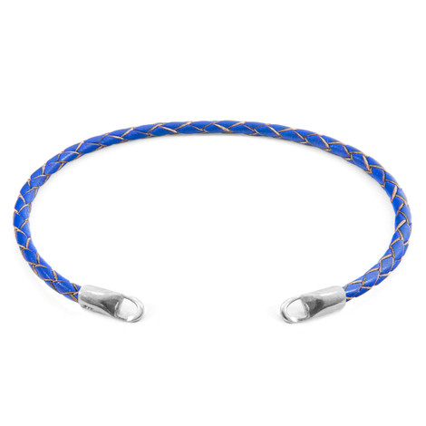 Anchor & Crew Royal Blue CUSTOM Bracelet Leather and Silver Line