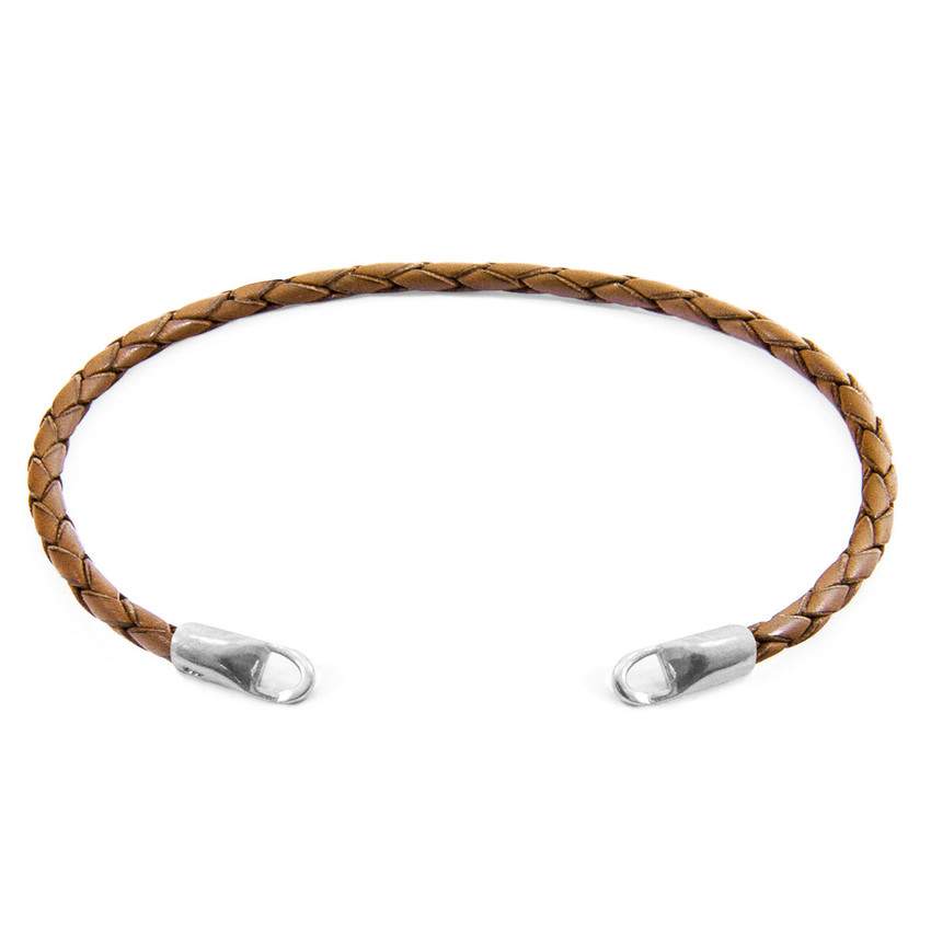 Anchor & Crew Light Brown CUSTOM Bracelet Leather and Silver Line