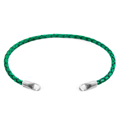 Anchor & Crew Fern Green CUSTOM Bracelet Leather and Silver Line