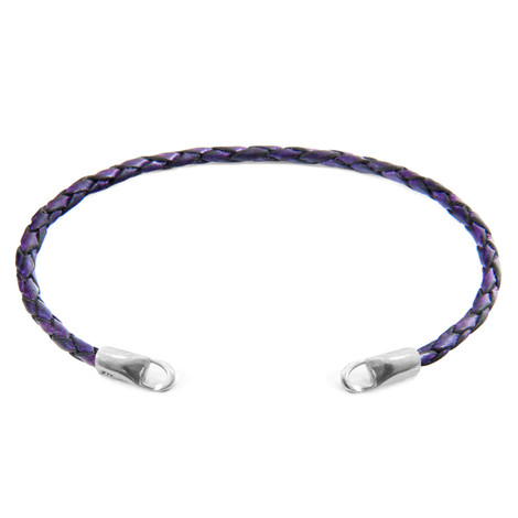 Anchor & Crew Grape Purple CUSTOM Bracelet Leather and Silver Line