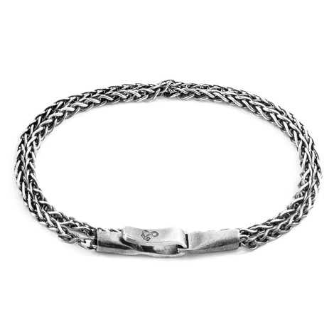 Anchor And Crew Doble Pulsera Staysail Sail de Cadena de Plata