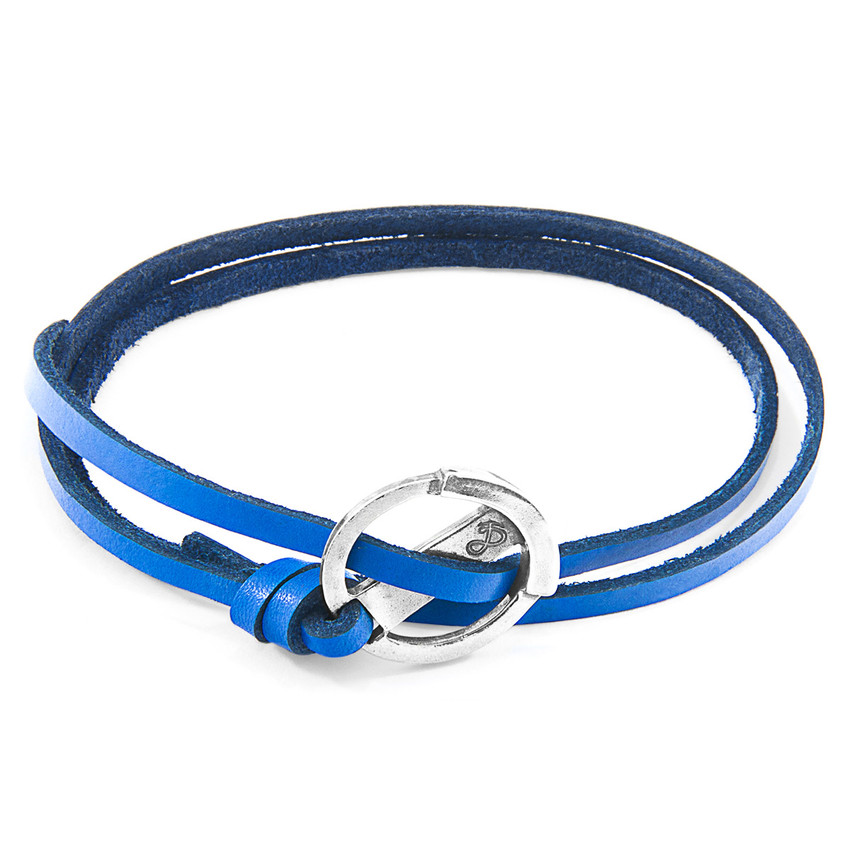 Anchor & Crew Royal Blue Ketch Anchor Silver and Flat Leather Bracelet