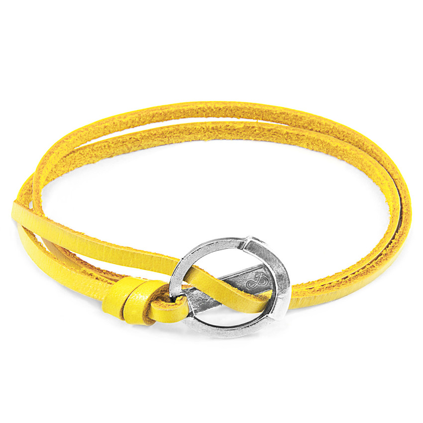 Anchor & Crew Mustard Yellow Ketch Anchor Silver and Flat Leather Bracelet