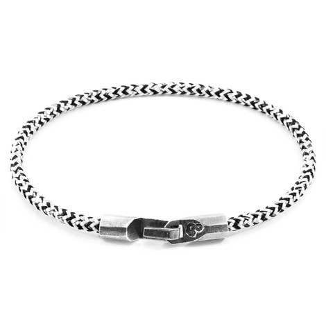 Anchor & Crew White Noir Talbot Silver and Rope Bracelet