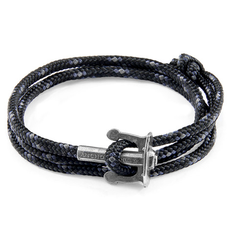 Anchor And Crew Negro Union Pulsera de Ancla en Plata y Cuerda