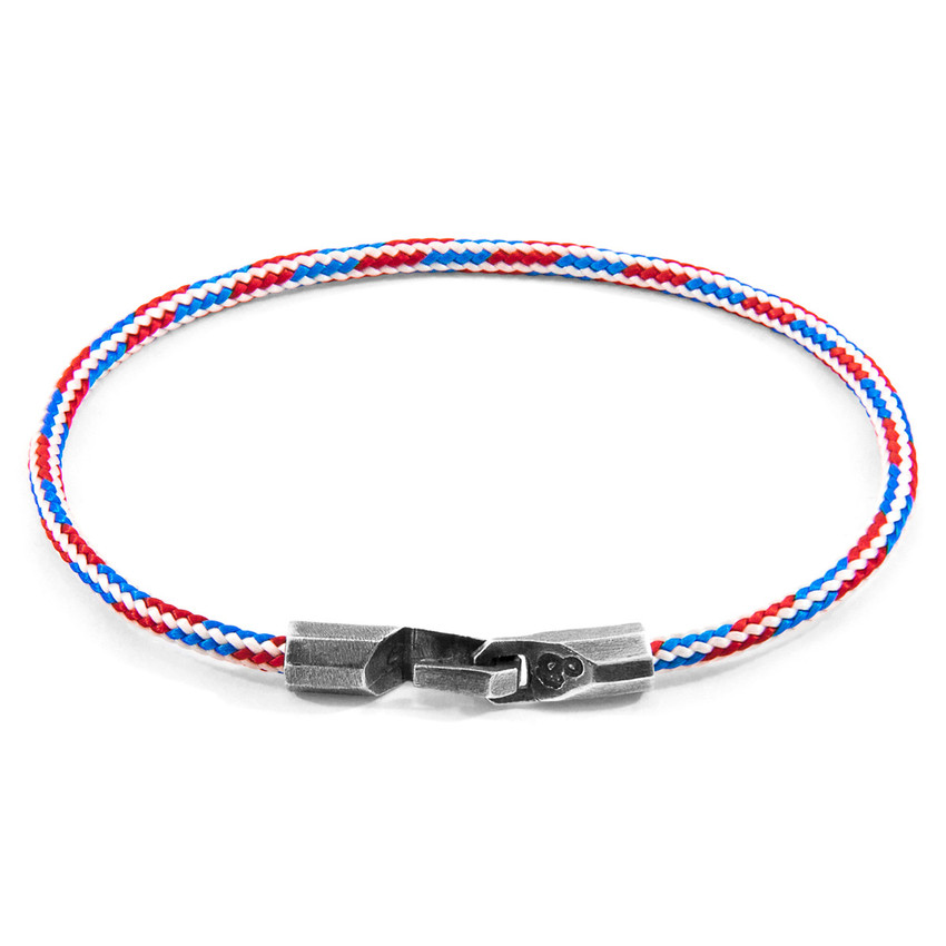 Anchor & Crew Project-RWB Red White and Blue Talbot Silver and Rope Bracelet