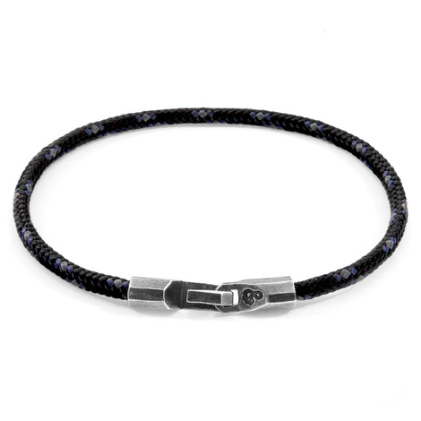 Anchor & Crew Black Talbot Silver and Rope Bracelet