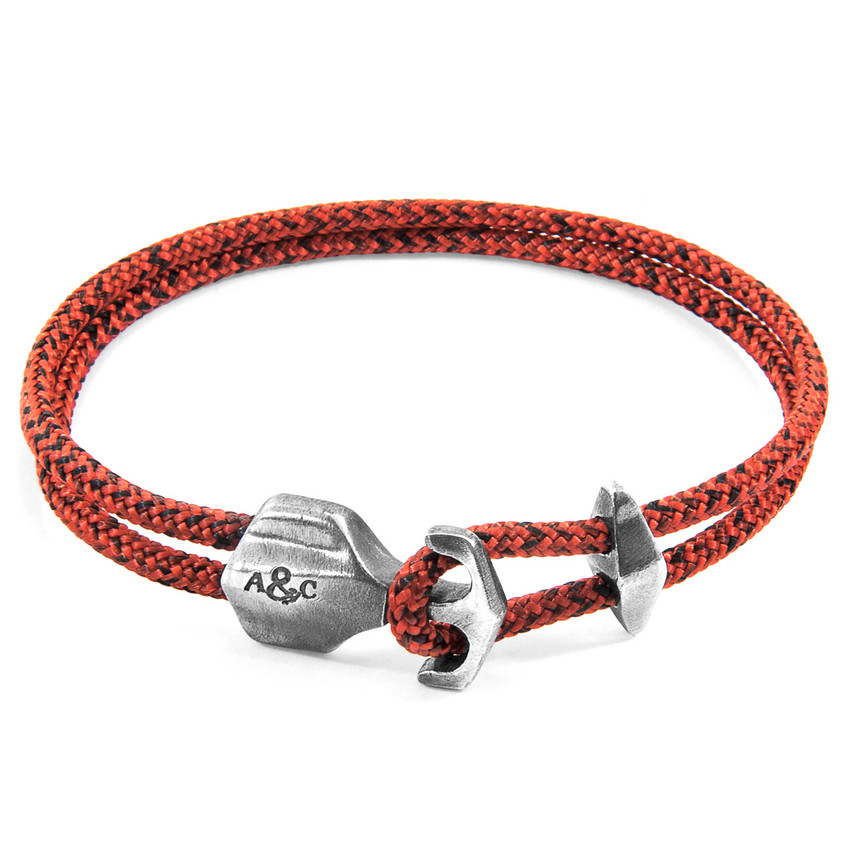 Anchor & Crew Red Noir Delta Silver and Rope Bracelet