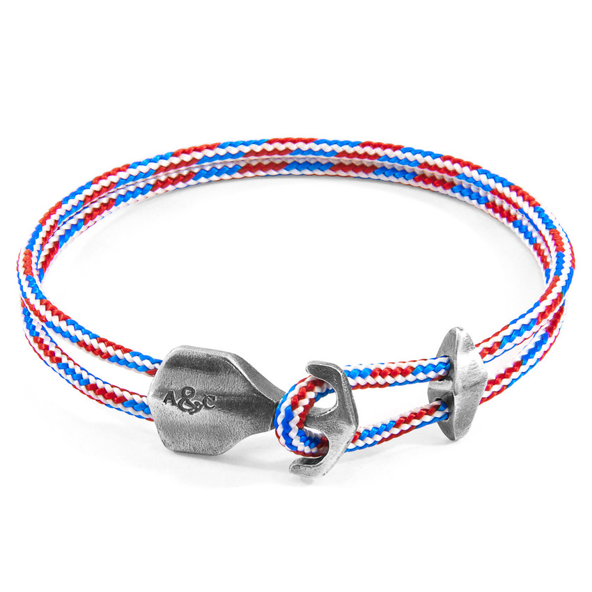Anchor & Crew Project-RWB Red White and Blue Delta Silver and Rope Bracelet