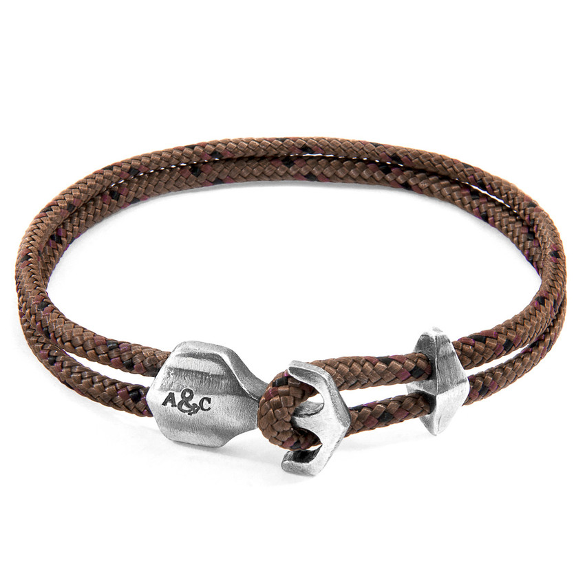 Anchor & Crew Brown Delta Silver and Rope Bracelet