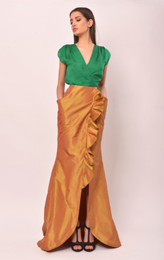 Alice Top (Green Silk Wrap Top)