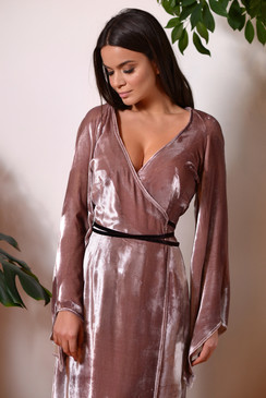 Chestnut Heath Dress (Silk Velvet Wrap Dress)
