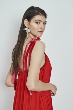 Pixie Dress (Red Short Dress with Velvet Straps)