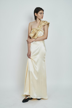 Queen Mab Gown (One-shoulder Silk Gown)