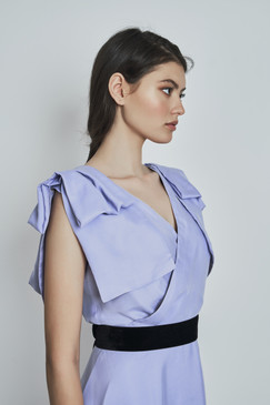 Wendy Dress (Lavender Silk Midi Dress with Bows)