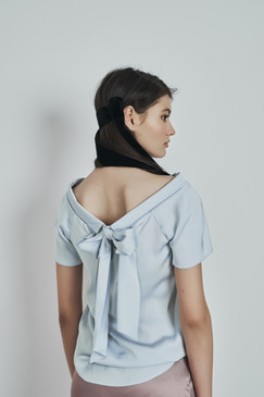 Lizie Top (Wide Neckline Viscose Bow Top)
