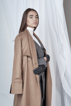 Standing Coat (Camel Cashmere Coat with Black Belt)