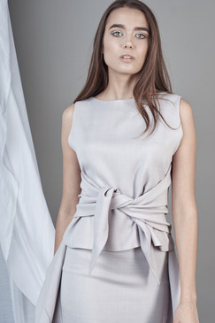 Limitless Top (Sleeveless Light Grey Wrap Top)